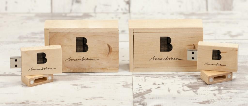 Memorias USB con caja de madera
